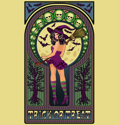 sexy witch and full moon art nouveau greeting vector image