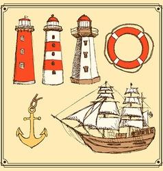 Sketch sea set in vintage style vector image