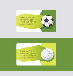 sport business card football volleyball soccer vector image