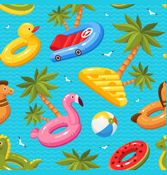 Swimming summer seamless pattern with palm trees vector