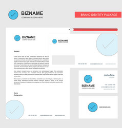 tick business letterhead envelope and visiting vector image