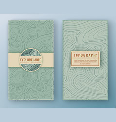 Two abstract retro vertical banners with map vector