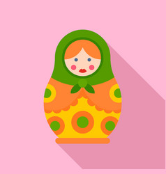 vintage nesting doll icon flat style vector image