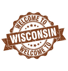 Wisconsin round ribbon seal vector