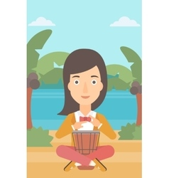 Woman playing tomtom vector