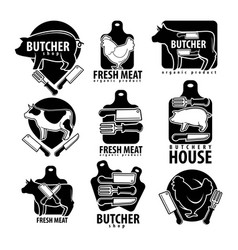 butcher shop with fesh meat isolated monochrome vector image
