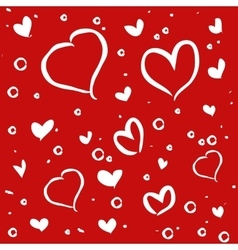 Hand drawn white hearts on red background vector image vector image
