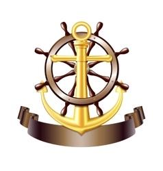 Nautical emblem with golden anchor vector