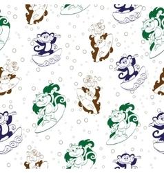 Blue green brown surfing monkeys seamless vector