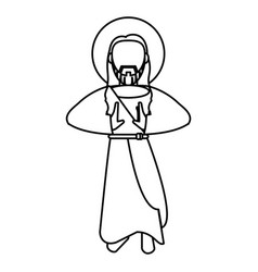 jesus christ sacred spirituality outline vector image