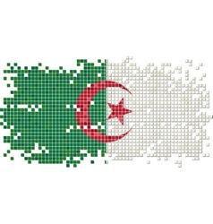 Algerian grunge tile flag vector image