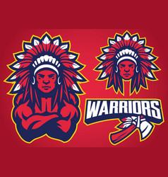 American native warrior vector