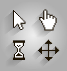 cursor set pixel arrow hand vector image vector image