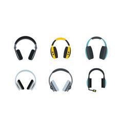 headphones icon set flat style vector image vector image