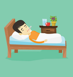 sick man with thermometer laying in bed vector image
