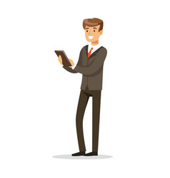 successful businessman standing and holding a vector image vector image