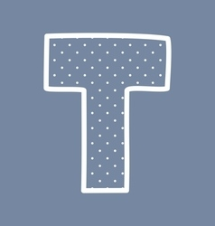 T alphabet letter with white polka dots on blue vector image