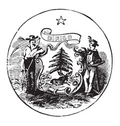 the official seal of the us state of maine in vector image vector image