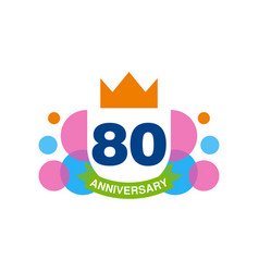 80th anniversary colored logo design happy vector image
