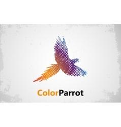 Color parrot Parrot logo design grunge poster vector image