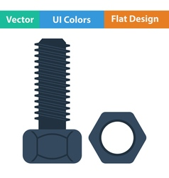 Flat design icon of bolt and nut vector image