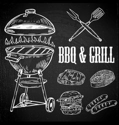 hand drawn bbq and grill design elements grilled vector image vector image