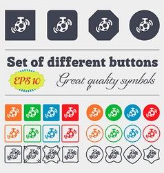 mirror ball disco icon sign Big set of colorful vector image vector image
