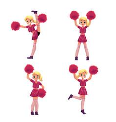 pretty blond girl in cheerleader uniform with vector image