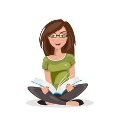 Reading girl vector image
