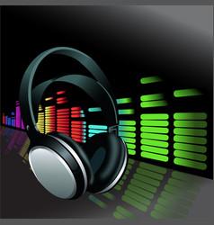 realistic headphones digital equalizer background vector image vector image