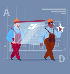 two cartoon builders carry glass wearing uniform vector image vector image