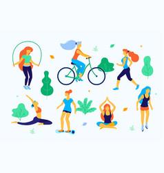 women walking in the park flat vector image vector image