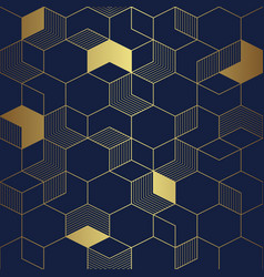 Abstract luxury cube seamless blue and golden vector