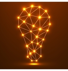 Abstract polygonal lamp with glowing dots and vector image
