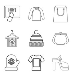 Acquisition icons set outline style vector