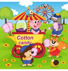 animals eat cotton candy at amusement park vector image