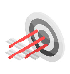Arrow in target icon isometric style vector