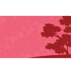 Background of tree and love valentine days vector image