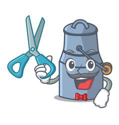 barber milk can character cartoon vector image
