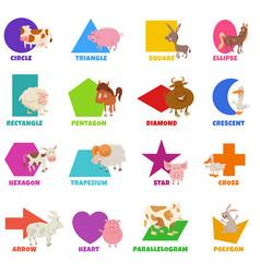 Basic geometric shapes with cute farm animals set vector