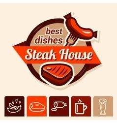 best steak logo vector image vector image