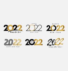 big set 2022 happy new year gold and black logo vector image