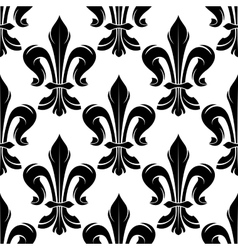 Black and white fleur-de-lis royal pattern vector image