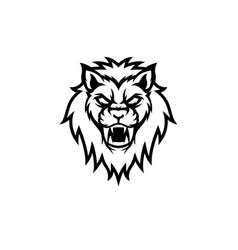 black lion head isolated white background vector image