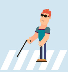 blind guy on a pedestrian crossing vector image