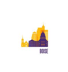 boise city emblem colorful buildings vector image