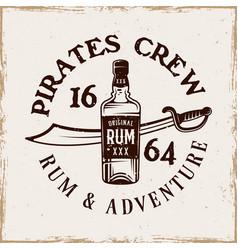 bottle rum and saber pirate emblem vector image