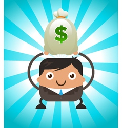 Business Man Holding Bag of Money vector