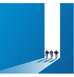 businessmen at open door future path new journey vector image