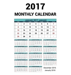 Calendar monthly for 2017 Year Stationery vector image